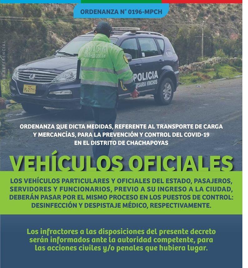 ORDENANZA MUNICIPAL DICTA MEDIDAS SOBRE EL INGRESO DE VEHÍCULOS PARTICULARES Y OFICIALES A CHACHAPOYAS